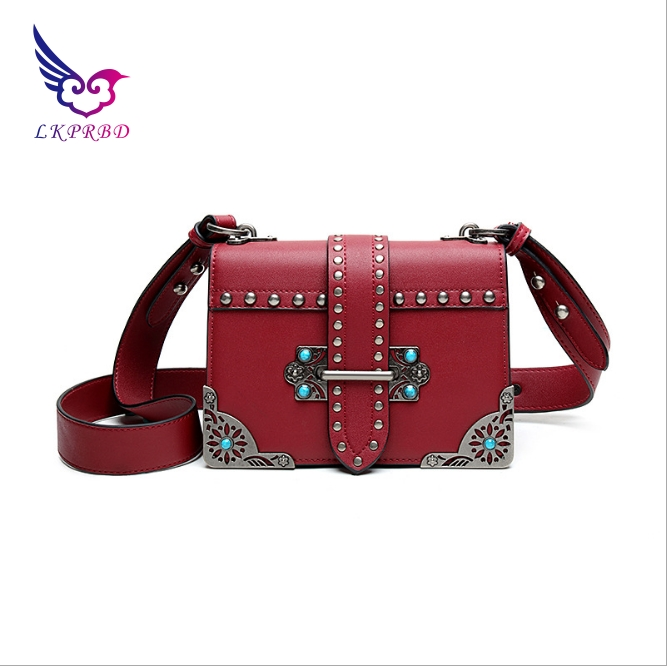 LKPRBD high-end brand leather handbags 2018 new leather wide shoulder strap rivet shoulder Messenger bag handbag organ female