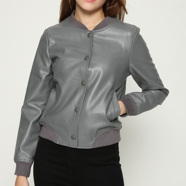 New fashion gray black jacket new fashion bomber motorcycle Leather jacket  women 3 color brand jacket jaqueta couro letter print 0a2825001
