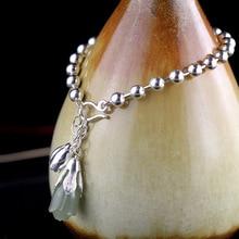 2018 Elegant Natural Jade 100% 925 Sterling Silver Charm Bracelets For Women Girl Tulip Flower Bracelet Jewelry Gift