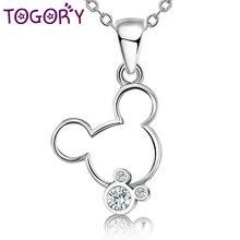 dba7d28249c4 TOGORY más de diamantes de imitación de cristal para mujer colgante collar  de plata de moda de Color de dibujos animados Mickey .