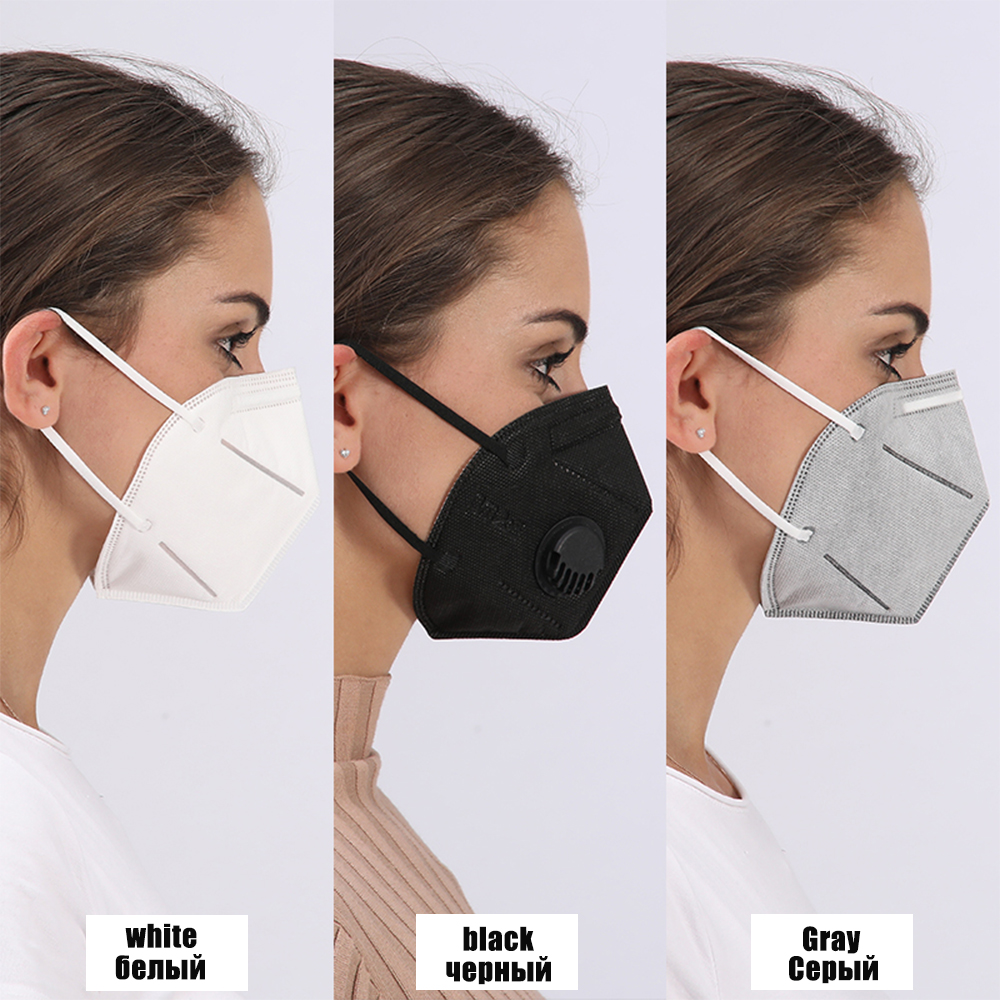 5 Pcs Activated Carbon Folding Mask With Breathing Valve Pm2.5 Anti-fog Dustproof,industrial Protection Labor Safety Work Mask