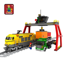 AUSINI 25004 gift Building Block Set train Model Enlighten Construction Brick Toy Educational DIY Bricks Toy for Children