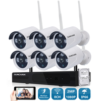 2MP CCTV System 1080P 8ch HD Wireless NVR Kit With HDD Outdoor IR Night Vision IP