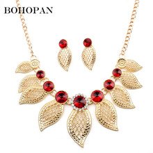 Luxury Jewelry Set For Women Gold Leaf Shape 3 Color Gem Crystal Necklace&Earrings Wedding Jewelry Accessories Bride Gift Bijoux недорого