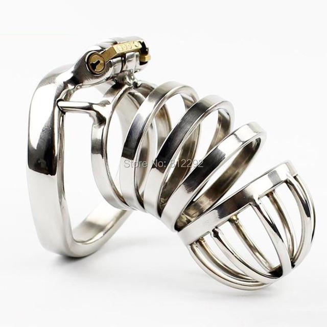 El último Diseño Male Chastity Device Peins de Bloqueo Con arc-en forma de Anillo Para el Pene BDSM Sex Toys Cinturón de Castidad de Acero Inoxidable