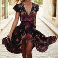 2017 new summer Sexy Bohemia Ethnic style Vintage flower print V collar black casual elegant Fairy Dress