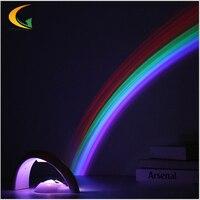 High Quality Rainbow Romantic LED Projector AC 6V Mini Night Light Projector Bedside Lamp Room Decoration
