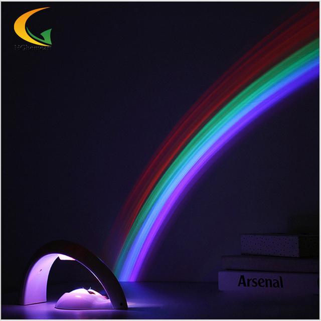 Alta qualidade Rainbow romântico LED Projector AC 6 V mini projetor Luz Da Noite de cabeceira lâmpada Decoração do Quarto Do Miúdo multicolor luz