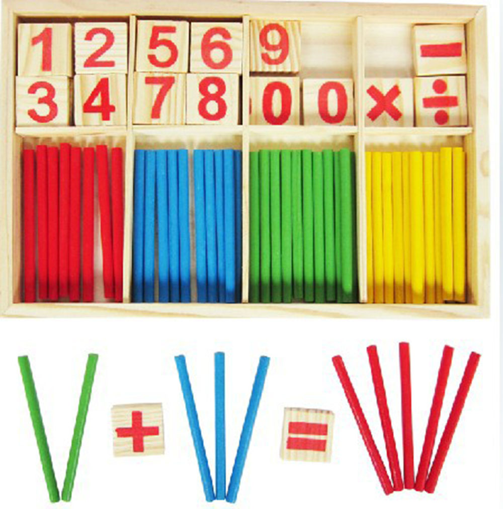 Wooden Toys Counting Stick Number Cards Blocks Mathematical Intelligence
