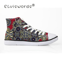 ELVISWORDS African Printed White Soft Platform Size 35 45 Female High Top Breathable Canvas Shoes Mens Sneakers Vulcanize Shoe