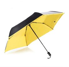Aviation shaft carbon fiberglass frame three fold manual super light pocket umbrella 5 times colour coating anti-uv parasol(China)