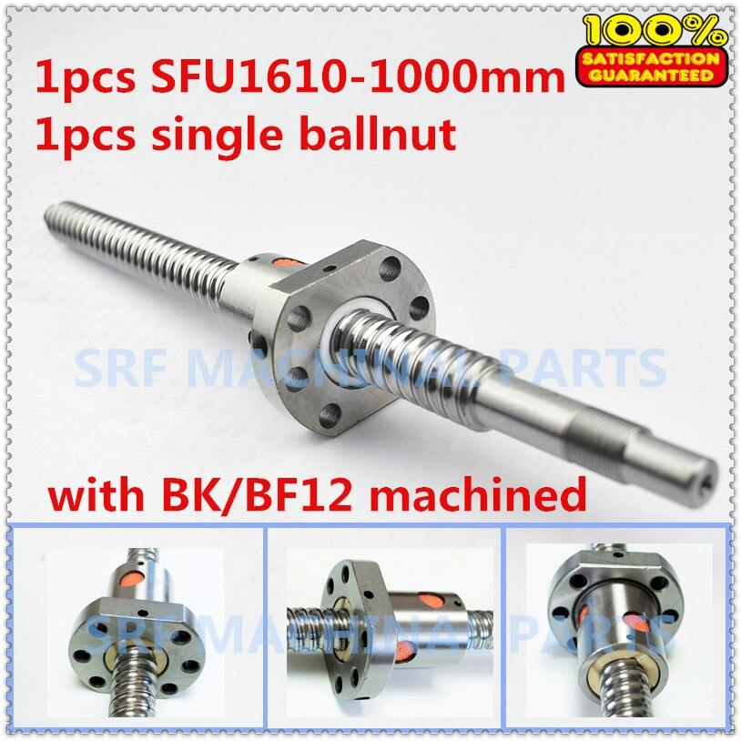Brand New 1pcs 16mm lead ball screw RM1610 Rolled Ballscrew L=1000mm +1pcs SFU1610 ball nut for CNC part new 16mm rm1610 ball screw rolled ballscrew 1pcs sfu1610 l 500mm with 1pcs 1610 flange single ballnut for cnc part end machining
