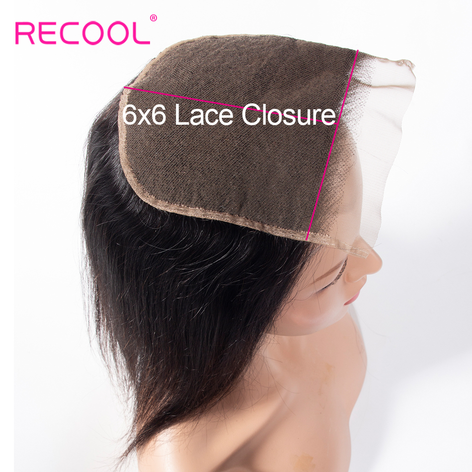 Recool Brazilian Straight 6x6 Lace Closure Free Middle Three Part Swiss Lace Top Closure Remy Human