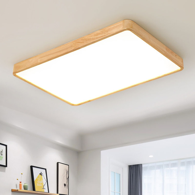Wooden Led Ceiling Lighting Lamps For The Living Room Chandeliers Hall Modern