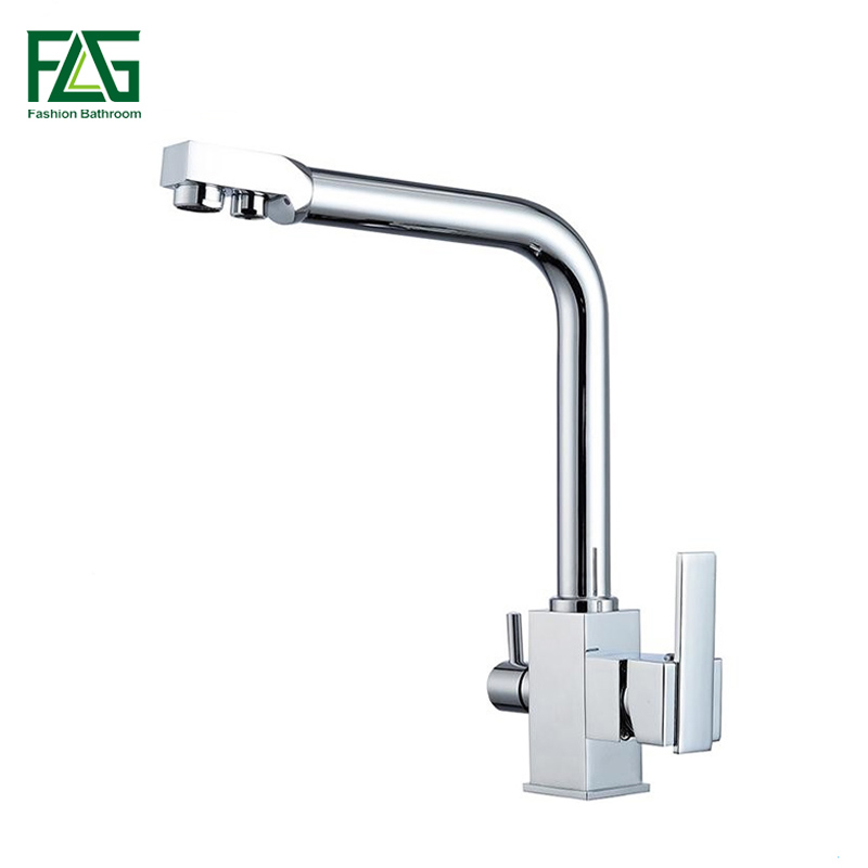 Kitchen Faucets Chrome Deck Mounted Mixer Tap 360 Degree Rotation with Water Purification Features Mixer Cold Hot Tap Crane