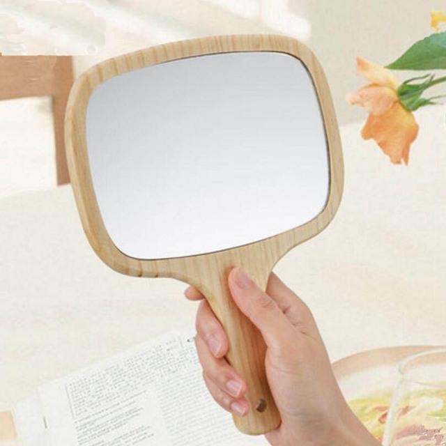 2 Unids Upsc princesa mango de madera de mano espejo Portátil belleza espejo de maquillaje puede ser colgante mano espejo de vanidad 17E15D50
