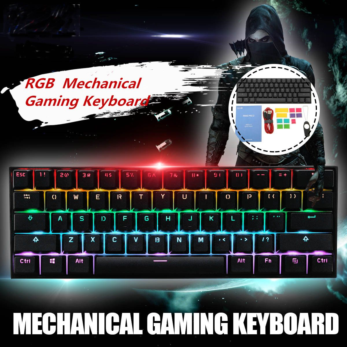 Obins Anne Pro 2 60 NKRO bluetooth 4 0 Type C RGB Mechanical Gaming Keyboard Gateron