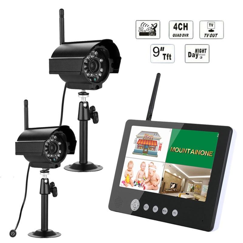 9  TFT Digital 2.4G Camera Outdoor Baby Monitors 4CH Quad DVR Wireless Kit Home CCTV Security Camera System , IR night light vga 4ch color cctv security camera quad processor remote control