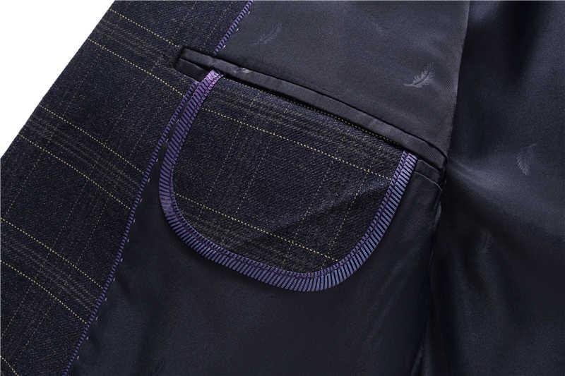 メンズチェック柄スーツ 2019 スリムフィットウェディングスーツの男性高品質ビジネスフォーマルスーツ 3 ピースジャケットパンツベスト (ジャケット + ベスト + パンツ)
