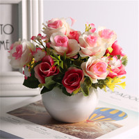 Ceramic Pot Romantic Artificial Flower Rose Green Plant Classic Bouquet Festival Wedding Home new Year decoration accessories