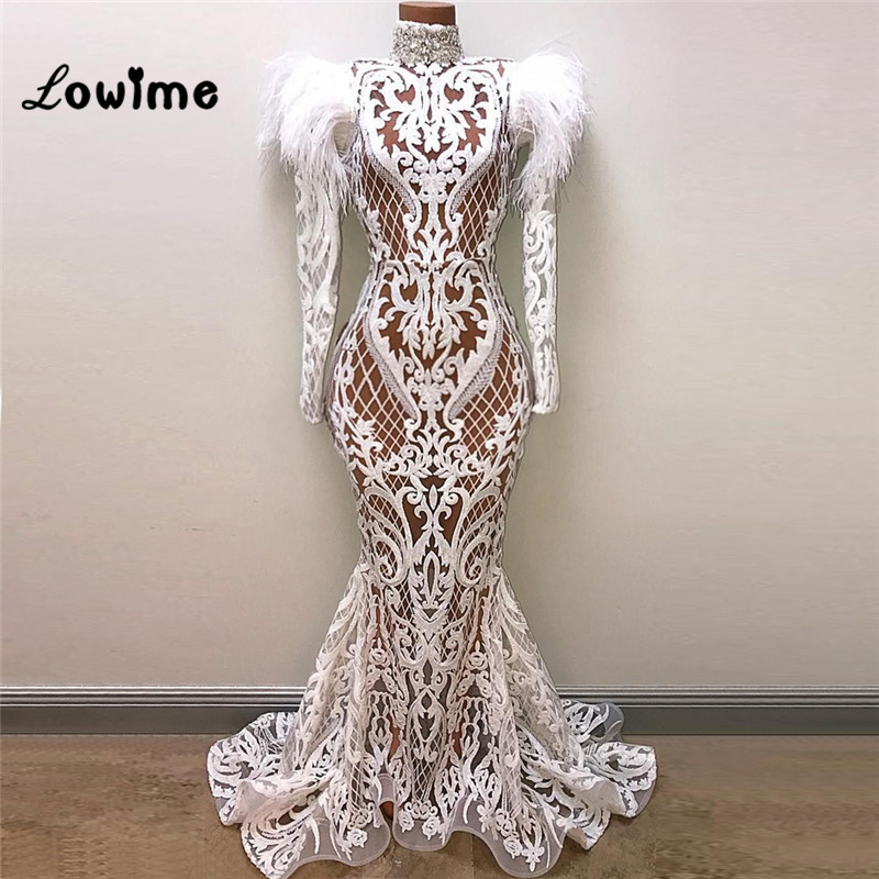 Vintage Mermaid Formal Evening Gown Feather Women Evening Dresses Robe De Soiree 2019 Elegant Party Dress Arabic Dubai Kaftan gown