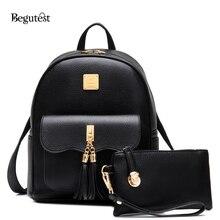 Модные женские рюкзаки высокое качество из искусственной кожи с кисточками композитный сумки для девочек милый школьный рюкзак дамы путешествия рюкзак женственный