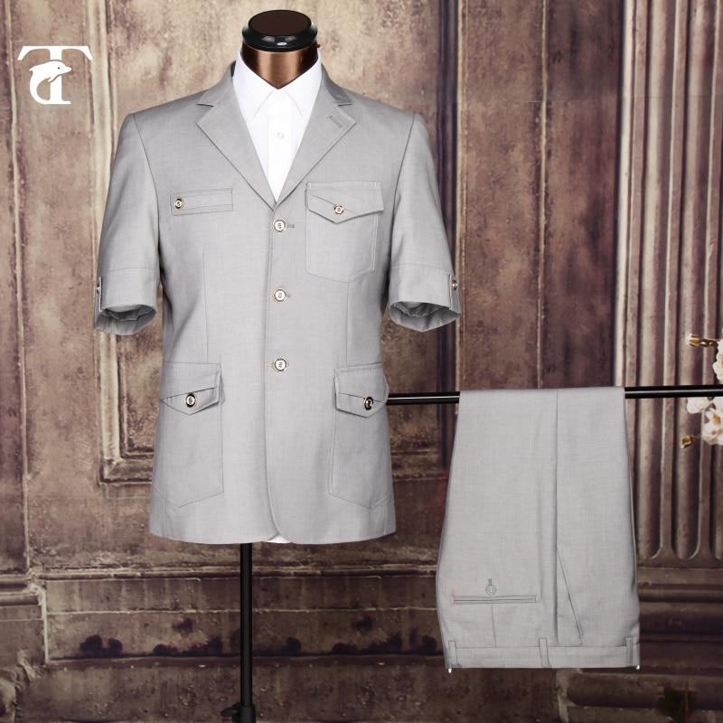 2020 Summer Short Sleeve Blazer Masculine Office Uniform Design Garment Factory Fancy Suits For Men Apparel Safari Suit