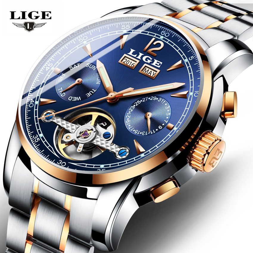 Relojes LIGE Male Automatic mechanical Sport Watch Men Luxury Brand Casual Watches Men s Wristwatch army