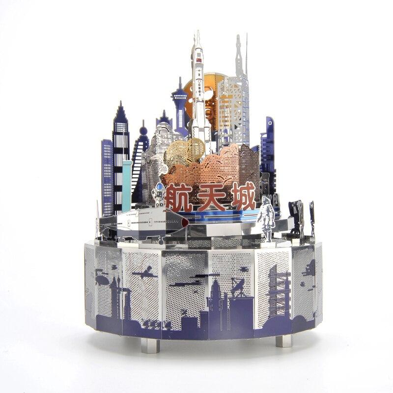 Space City Theme Metal Music Box DIY Classic Music Box Crafts Clockwork Home Decor Music Box Gifts for Kids