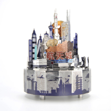 Space City Theme Metal Music Box DIY Classic Crafts Clockwork Home Decor Gifts for Kids