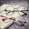 Anewish mulheres homem óculos de armação simples espelho do vintage grande rodada de metal frame ótico óculos limpar lens oculos feminino de grau