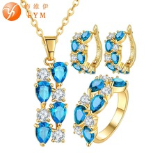 FYM New Fashion Yellow Gold Plated Women Blue Sapphire CZ Long Chain Necklace Pendant Hoop Earrings Rings Wedding Jewelry Sets fym clear white cubic zirconia jewelry sets yellow gold plated crystal pendant necklace earrings ring sets for women wedding