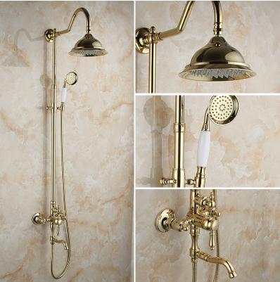 sanitary ware European golden copper shower shower set Rotate the elevating double shower bathroom shower стоимость