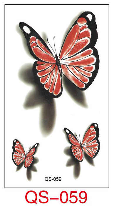 Waterproof Temporary Tattoo Stickers red butterfly fake Tatto Geometric animal Flash Tatoo Hand Back Foot for Girl Women Men