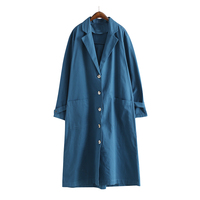 SuperAen Europe Retro Loose Solid Color Trench Coat For Women Single Breasted Pluz Size Wild Casual