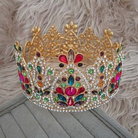Girls New Fashion Colorful Crown Tiaras Women Vintage Style Shining Rhinestone Hair Accessories Diadem Pageant Hair Jewelry