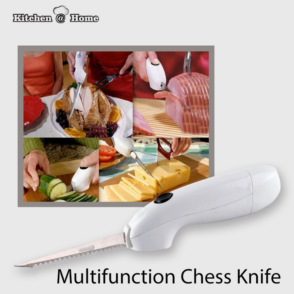 Portable Cordless Electronic Kitchen Knife For Cheese Meat Butter Twins Stainless Steel Blades BBQ Cake Gadget