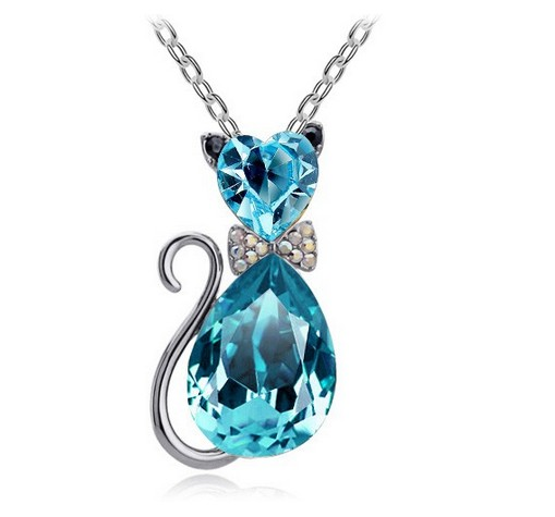 free shipping gift Austrian crystal Cat catty Pendant Chain
