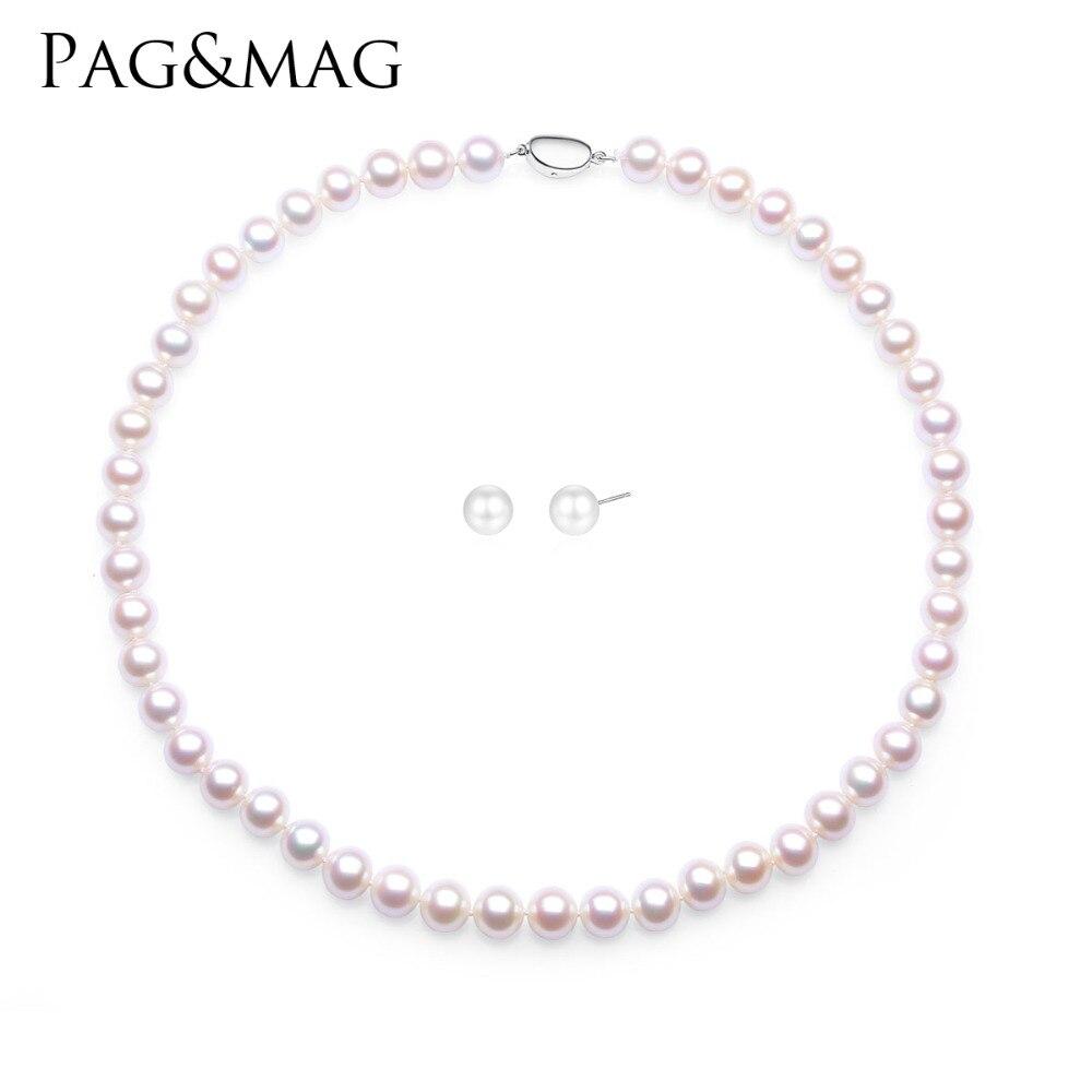PAG & MAG véritables ensembles de bijoux en perles naturelles pour femmes 9-10mm collier boucle d'oreille ensemble de perles de mariage anniversaire Baroque bijoux en perles