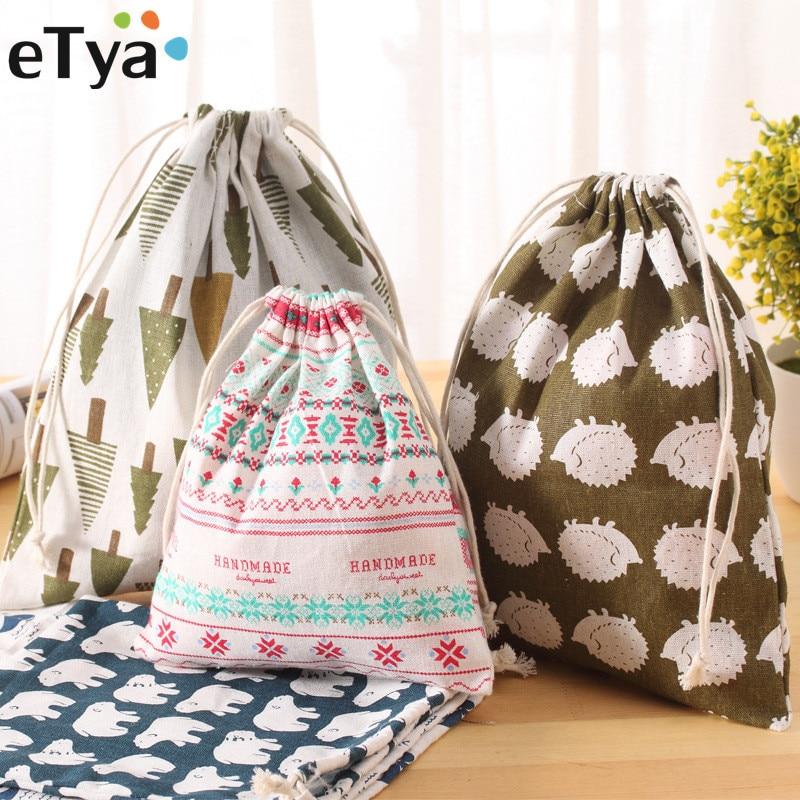 ETya 3PCS/Lot Women Reusable Shopping Bag Printing Unisex Foldable Cotton Drawstring Grocery Shopping Bags Hot Sale Case Pouch