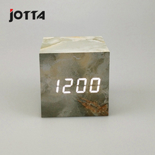 New LED sound control wood clock creative electronic imitation marble pattern alarm bedside