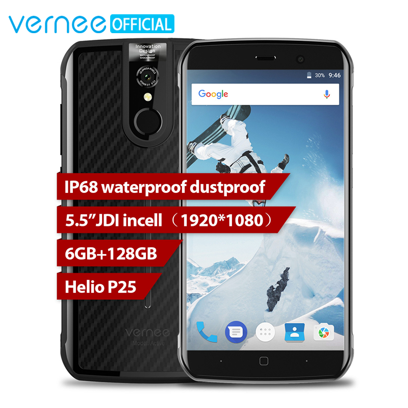 Global Version Vernee Active IP68 Waterproof Rugged Smartphone Helio P25 6GB 128GB 5.5 FHD 16MP NFC 4G Android 7.0 Mobile Phone