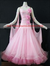 PINK Modern Waltz Tango Ballroom Dance Dress, Smooth Ballroom Dress,Standard Ballroom Dress Girls B-0030