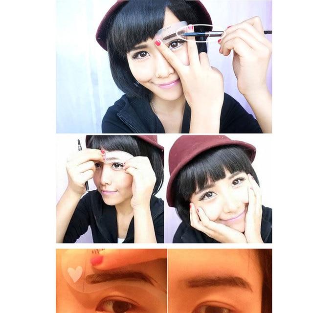 Hot sale 3 Pcs New Eyebrow Stencil Tool Makeup Eye Brow Template Shaper Make Up Tool 4