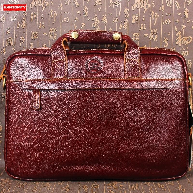 2019 New Cowhide Men Briefcase Computer Shoulder Messenger Bag Business Men's Genuine Leather Laptop Handbag Crossbody Bag