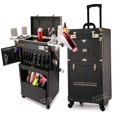Bagage de maquillage multifonctionnel Style rétro CARRYLOVE outils de coiffure professionnels valise personnalisée de marque - 4