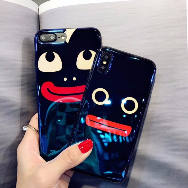 bacc46a431e34f YUSEE Electroplate Blue Light Soft Phone Case Stylish Funny Big Mouth for iPhone  X 6 6s 7 8 Silicone Case for iPhone 6 7 8 Plus