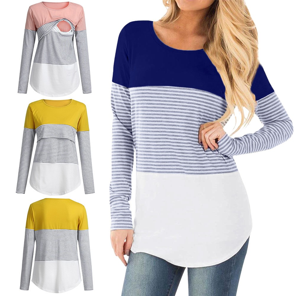SAGAC Casual Striped Women Long Sleeve Maternity Tops Breastfeeding Tops Ladies T-Shirt Loose Pregnancy Loose Clothes T Shirt(China)