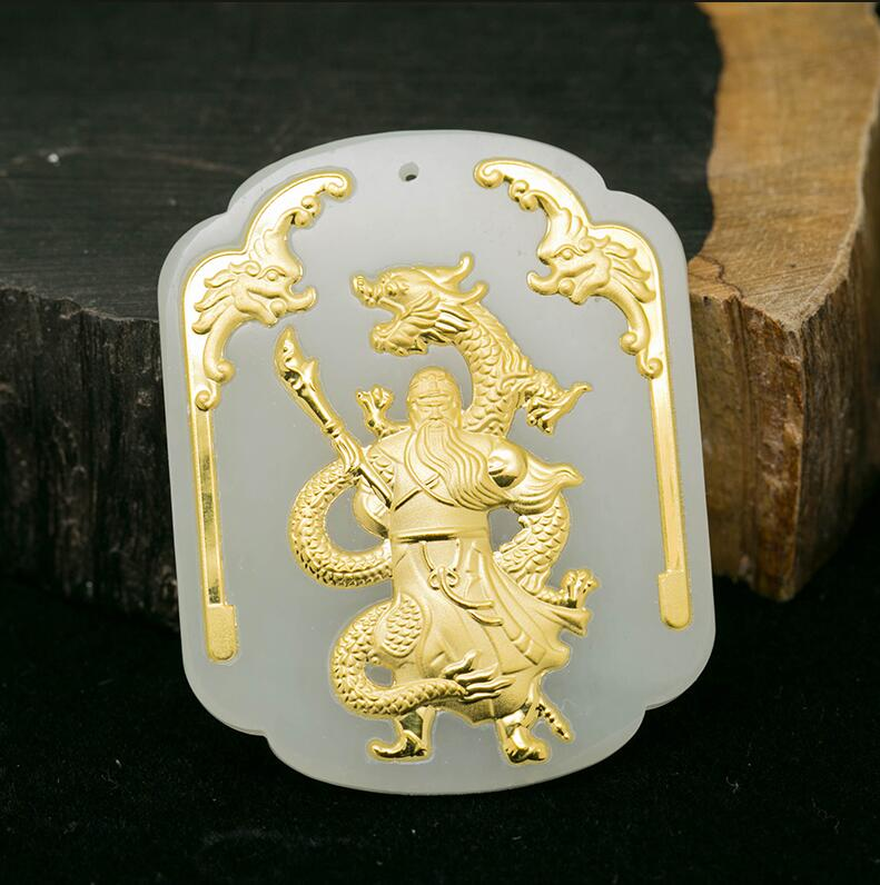 Natural White HeTian Yu + Full Gold Inlaid Carved Dragon GuanGong Lucky Pendant Necklace + Certificate Fashion Jewelry wonderful handwork natural grade a green jadeite carved turtle crane lucky amulet pendant free necklace certificate jewelry