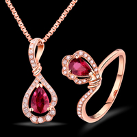 Bridal Fantastic Natural Diamond Jewelry Suit Red Ruby Pendant Ring In 18K Rose Gold